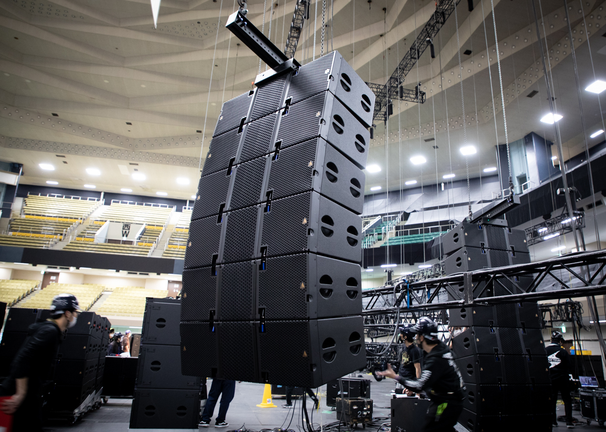 Crews load in for Little Glee Monster at Tokyo's Budokan.